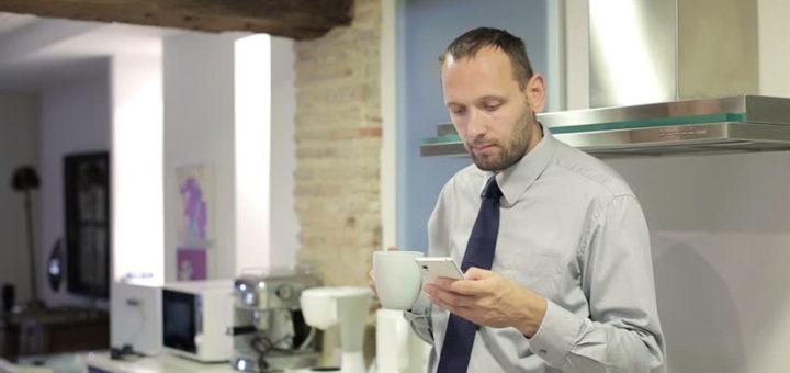 man drinks tea